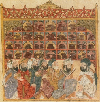 13th century illustration depicting a public library in Baghdad, from the Maqamat Hariri. Bibliotheque Nationale de France