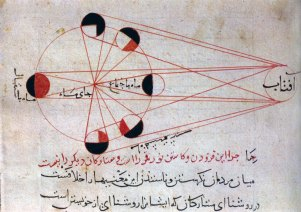 An illustration from al-Birunu's account of the different phases of the moon